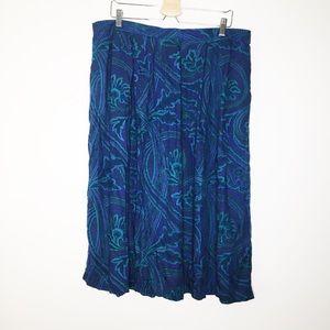 Vintage Napa Valley blue paisley midi skirt